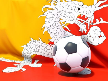 Bhutan Flag and Soccer Ball