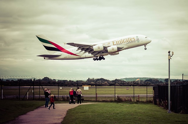 Emirates plan taking off from airport