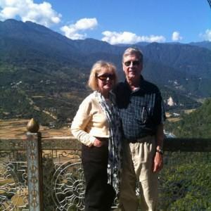 travel bhutan couple mountains