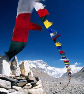 Nepalese flags on mount Everest