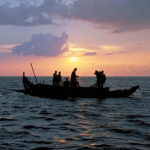 Sunset boat ride travel cambodia