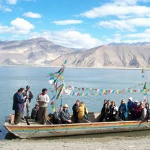 Tibet boat ride to Samye Monastery