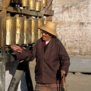Prayer wheels traveling to Tibet