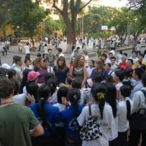 Vietnam students singing