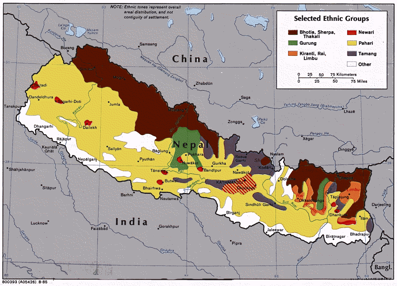 Map showing the ethnic groups of nepal