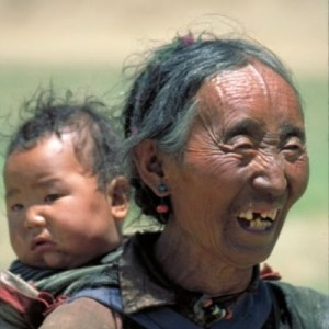 tibet travel woman and child