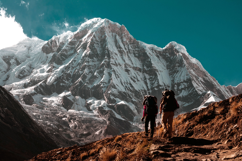 Hikers making trek to Base Camp