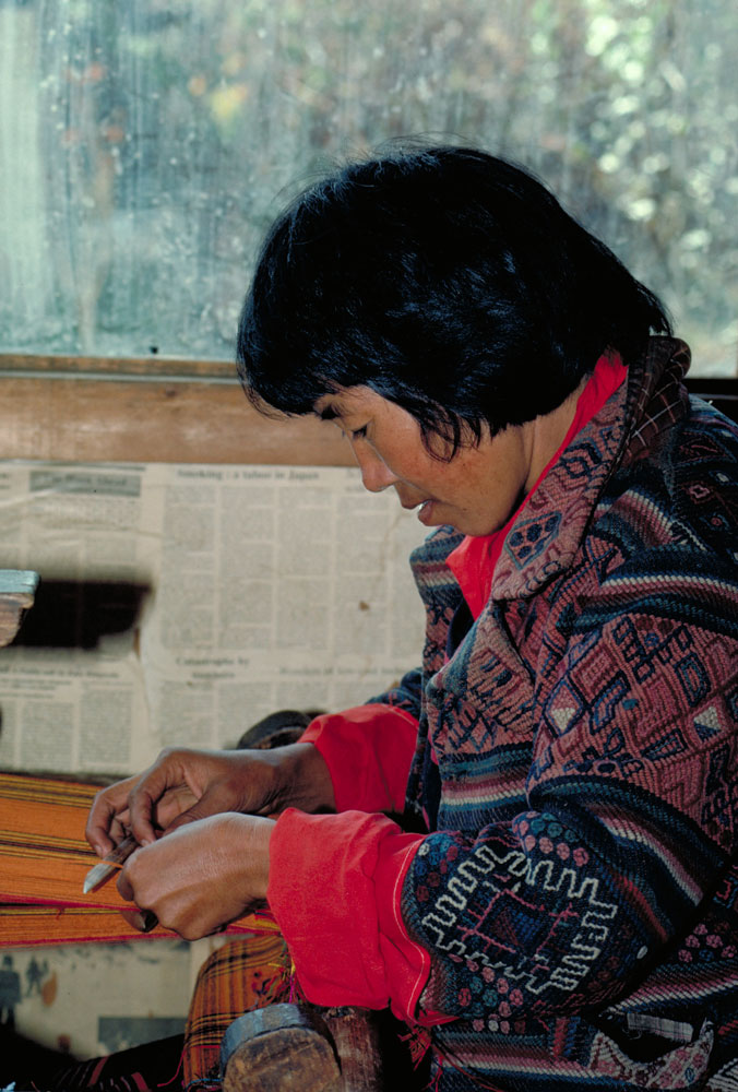 A woman weaving in Bhutan
